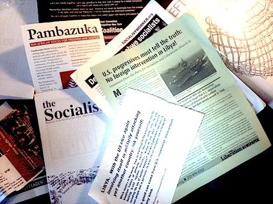 """Some flyers I picked up at the Left Forum last weekend, a Leftist """"gathering of the tribes.""""  They show unifed opposition to U.S. involvement combined with broad support for the revolution against Gadaffi.  Little of Cole's description of Leftist rehtoric on Libya is in evidence."""